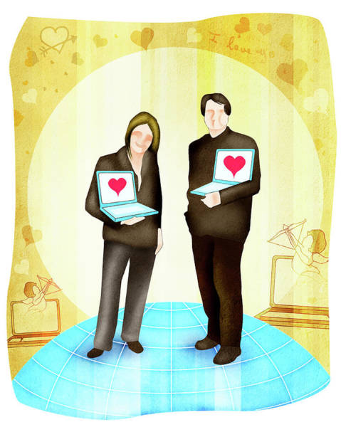 Front Page Photograph - Couple Standing With Laptops by Fanatic Studio / Science Photo Library