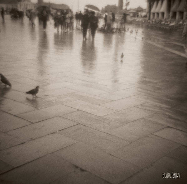 Venetian Photograph - Couple Walking In The Rain San Marco by Beverly Brown