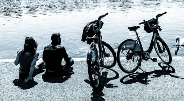 Photograph - Couple With Barclays London Cycle Hire Bicycles Resting By The S by Peter Noyce