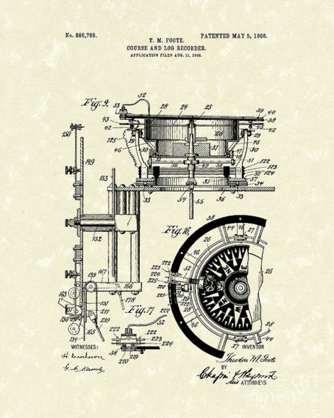 Log Drawing - Course And Log Recorder 1908 Patent Art by Prior Art Design