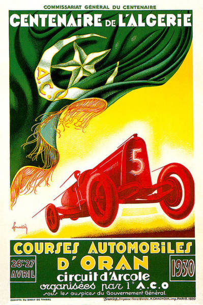Photograph - Courses Automobiles D Oran by Vintage Automobile Ads and Posters
