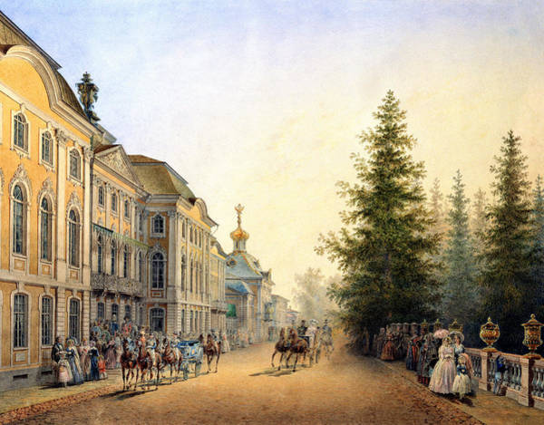 Imperial Painting - Court Departure At The Main Entrance Of The Great Palace by Vasili Semenovich Sadovnikov