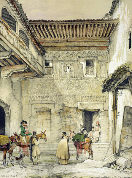 Balcony Drawing - Court Of The Mosque , From Sketches by John Frederick Lewis