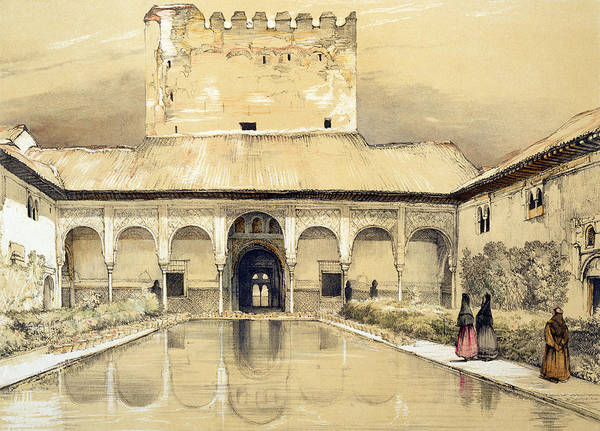 Arabian Drawing - Court Of The Myrtles And The Tower by John Frederick Lewis
