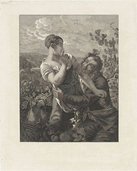 Grape Drawing - Courting Couple In A Vineyard, Anonymous by Anonymous And Peter Paul Joseph No?l