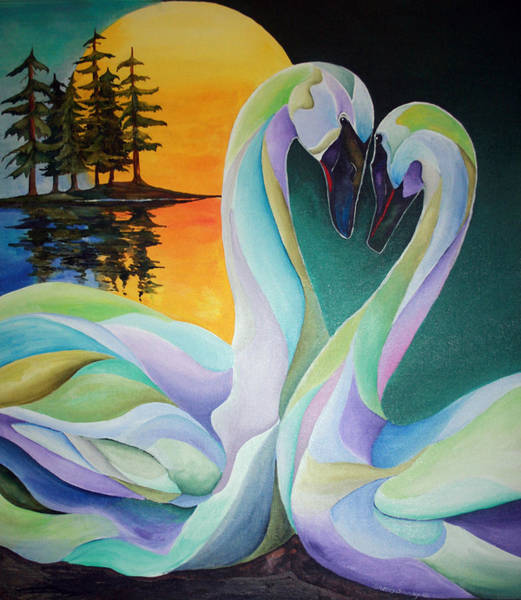 Trumpeter Swan Painting - Courting by Sherry Shipley