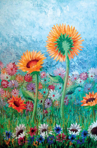 Courting Sunflowers Art Print