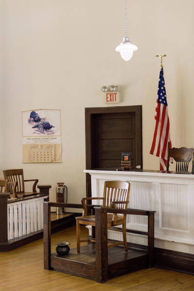 Hardwood Photograph - Courtroom Of The Old Monroe County by Panoramic Images