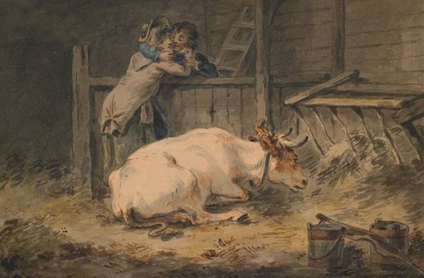 Courtship Wall Art - Painting - Courtship In A Cowshed by Julius Caesar Ibbetson