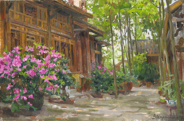 Wall Art - Painting - Courtyard Of Weaver's Workshops by Victoria Kharchenko