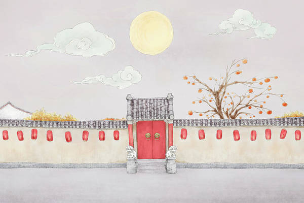 Event Digital Art - Courtyard Under The Full Moon by Bji / Blue Jean Images
