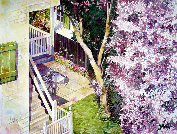Blooming Tree Painting - Courtyard With Cherry Blossoms by Mick Williams
