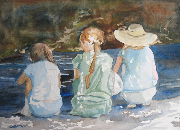 Braid Painting - Cousins At The Brook by Jenny Armitage
