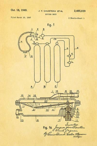 Jacques Photograph - Cousteau Diving Unit Patent Art 1949 by Ian Monk