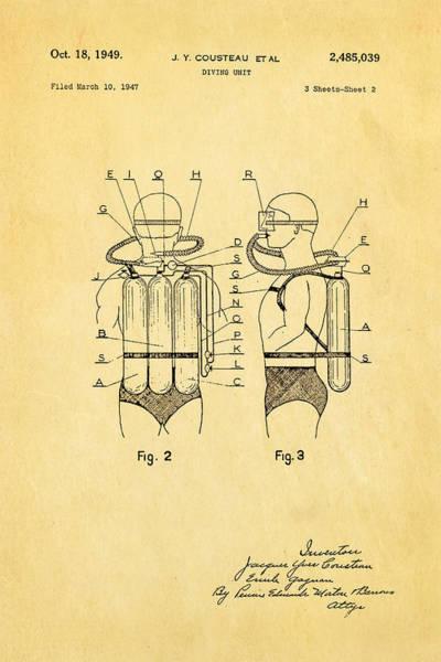 Jacques Photograph - Cousteau Diving Unit Patent Art  2 1949 by Ian Monk