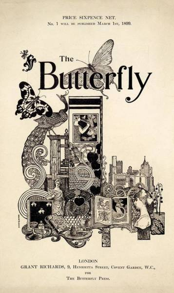 Peacock Drawing - Cover Of The Butterfly Magazine by English School