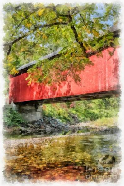 Red Covered Bridge Photograph - Red Covered Bridge Watercolor 2 by Edward Fielding