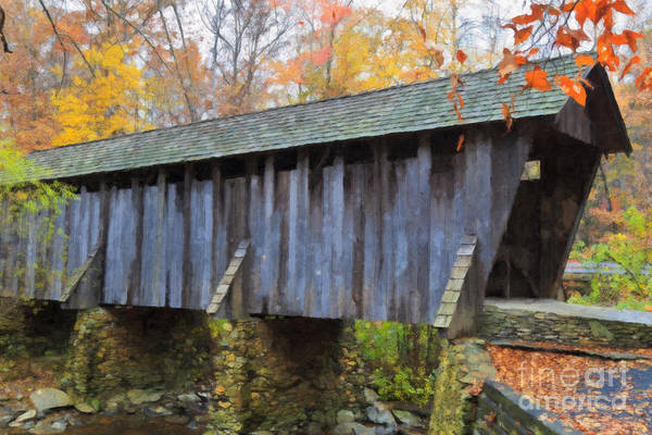 Painting - Covered Bridge Oil Painting by Jill Lang