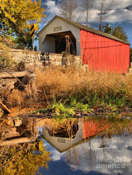 Photograph - Covered Bridge Reflections In Swamp Creek by Adam Jewell