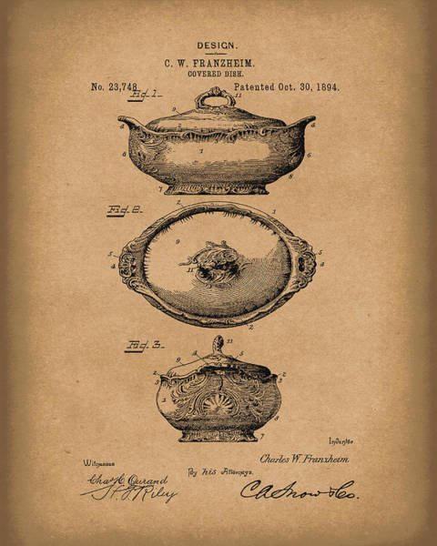 Drawing - Covered Dish 1894 Patent Art Brown by Prior Art Design