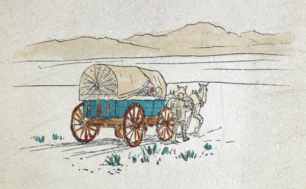 1880 Drawing - Covered Wagon, C1880 by Granger