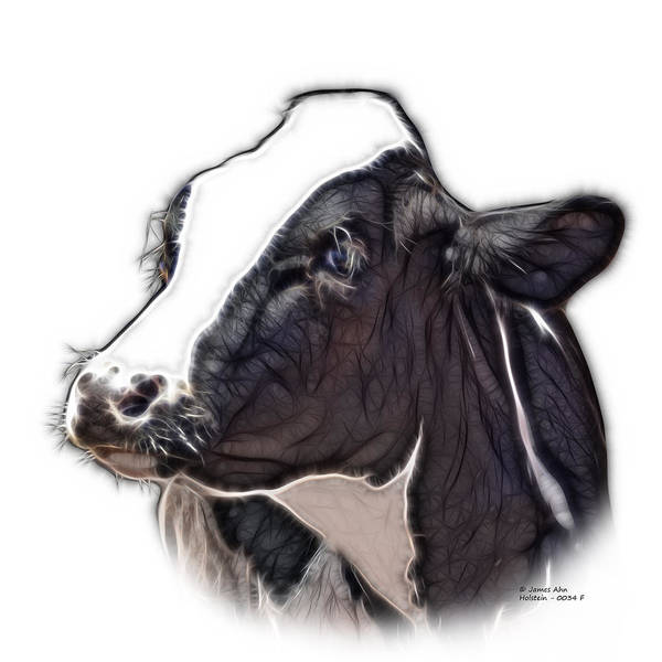Digital Art - Cow Holstein - 0034 Fs by James Ahn