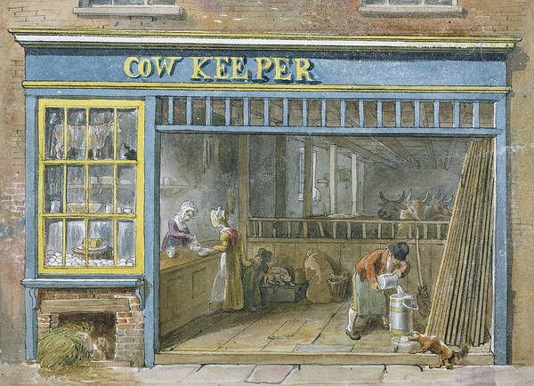Colored Glass Painting - Cow Keeper by George the Elder Scharf