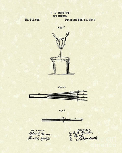 Drawing - Cow Milker 1871 Patent Art by Prior Art Design