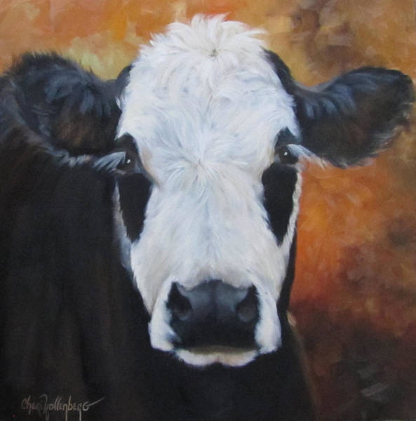 Farmhouse Kitchen Painting - Cow Painting - Tess by Cheri Wollenberg