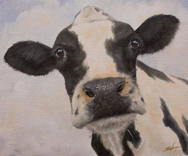 Painting - Cow Portrait I by John Silver