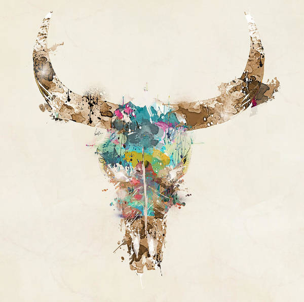 Retro Painting - Cow Skull by Bri Buckley