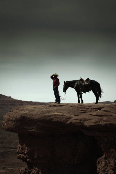 Indian Culture Photograph - Cowboy And Horse In The American by Yinyang