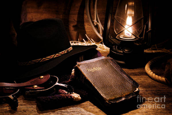 Prayers Photograph - Cowboy Bible by Olivier Le Queinec