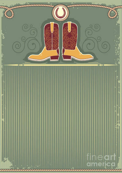 Wall Art - Digital Art - Cowboy Boots.vintage Western Decor by Tancha