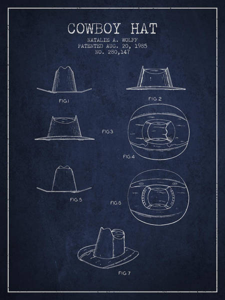 Farming Digital Art - Cowboy Hat Patent From 1985 - Navy Blue by Aged Pixel