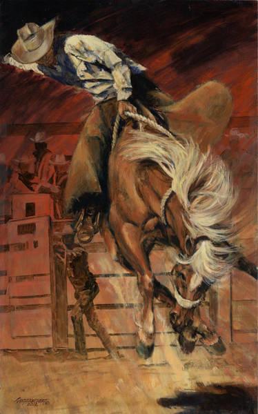 Wall Art - Painting - Cowboy On Bucking Horse by Don  Langeneckert