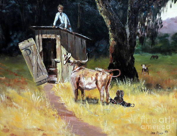 Roping Painting - Cowboy On The Outhouse  by Lee Piper