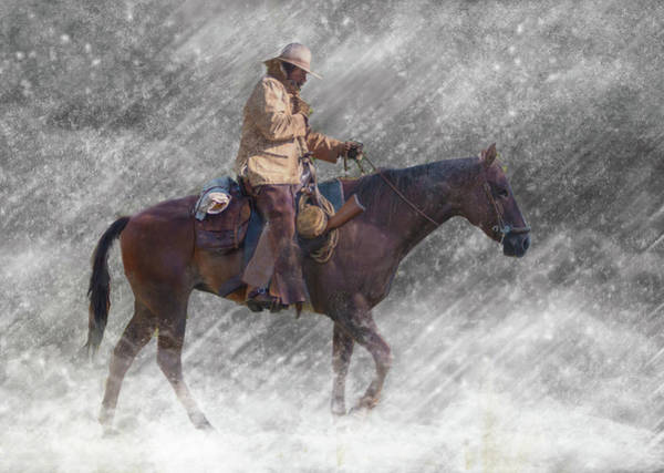 Candid Photograph - Cowboy Riding Against Snow Storm by Sally K Brown