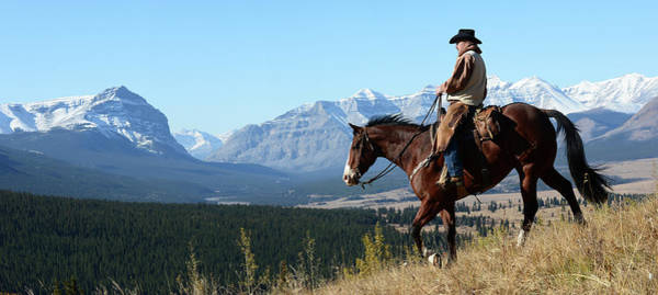 Wall Art - Photograph - Cowboy Riding With A View Of The Rocky by Deb Garside
