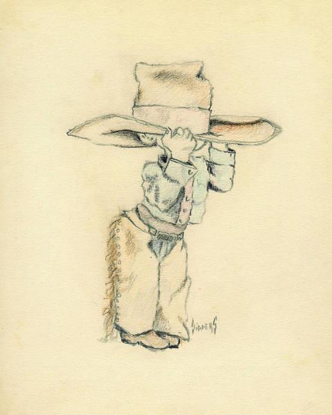 Hat Drawing - Cowboy by Sam Sidders