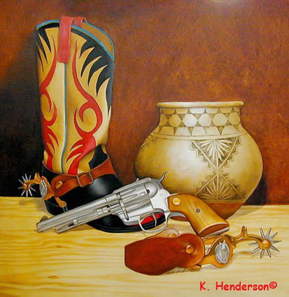 Wall Art - Painting - Cowboy Still Life By K Henderson by K Henderson