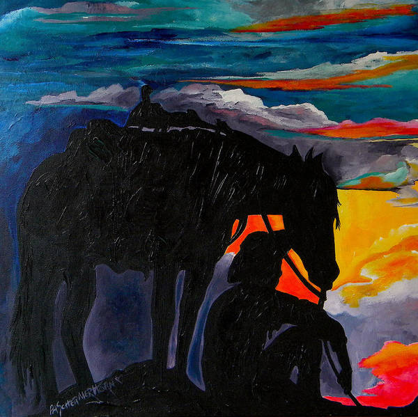 Painting - Cowboy Sunset by Patti Schermerhorn