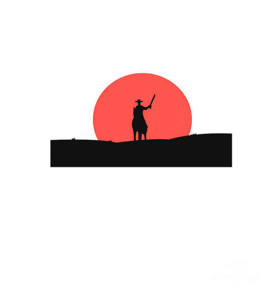 Scene Digital Art - Cowboy With A Gun On A Horse In The by Vlwashington