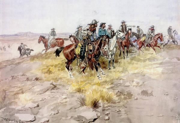 Digital Art - Cowboys by Charles Russell