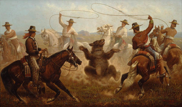 Roping Painting - Cowboys Roping A Bear by James Walker