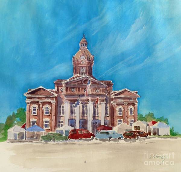 Courthouse Painting - Coweta County Courthouse Painting by Sally Simon