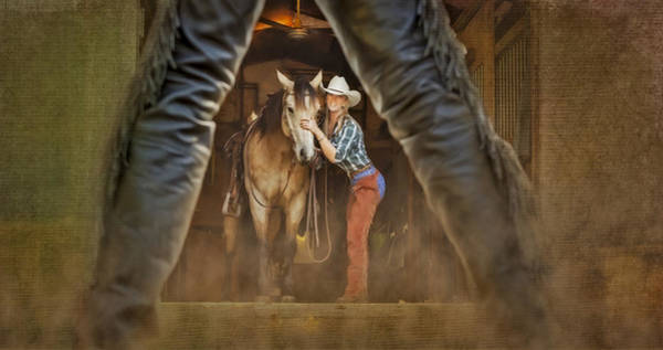 Buckskin Photograph - Cowgirl And Cowboy by Susan Candelario