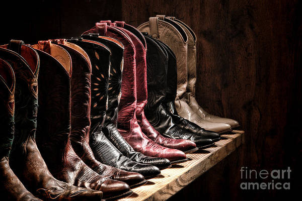 Rack Photograph - Cowgirl Boots Collection by Olivier Le Queinec