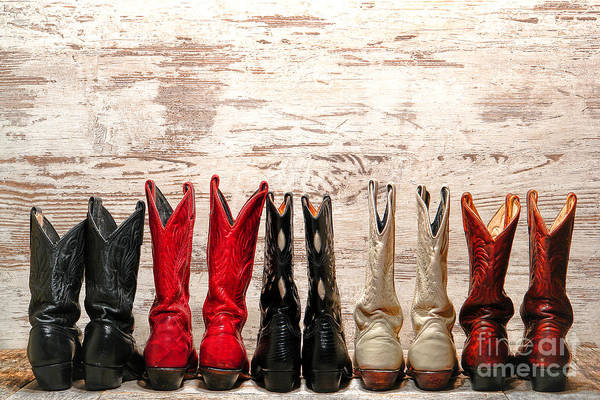 Boot Photograph - Cowgirls Night Out by Olivier Le Queinec