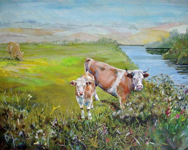 Painting - Cows By River by Mike Jory